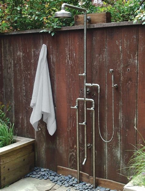 outdoor showers high low rugged outdoor shower remodelista