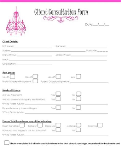 Free Nail Technician Client Record Card Template by Similiar Salon Consultation Form Keywords