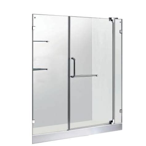 Frameless Glass Shower Doors Home Depot Vigo 59 75 In X 72 In Frameless Pivot Shower Door In Chrome With Clear Glass And White Base