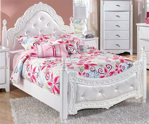 bed girl exquisite full size poster bed by ashley furniture white