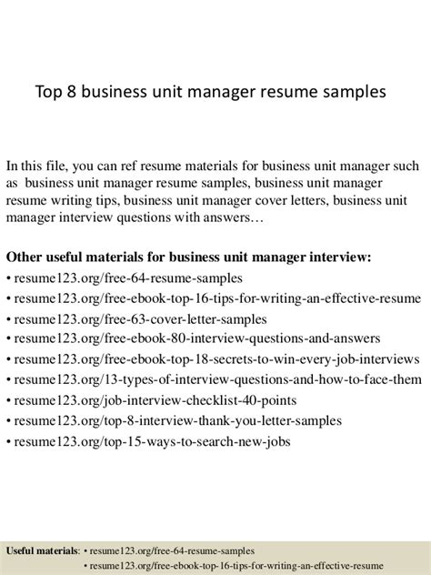 Unit Manager Sle Resume by Top 8 Business Unit Manager Resume Sles