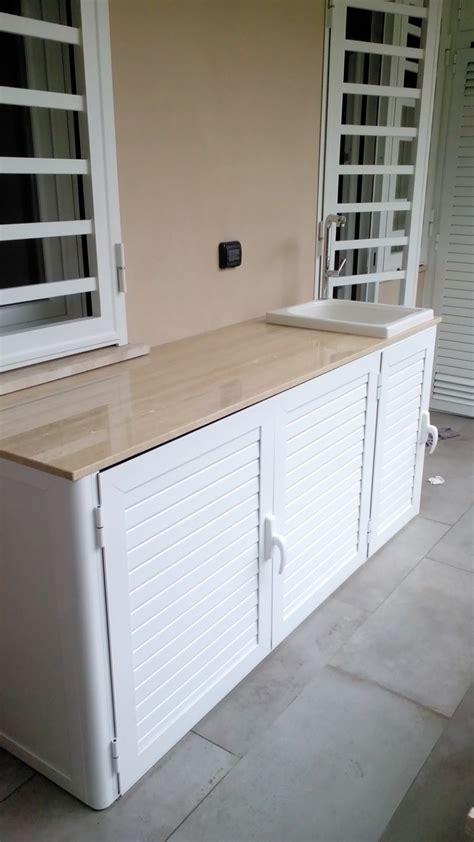 armadi in alluminio per balconi armadi bassi in alluminio con lavandino per esterni alfa