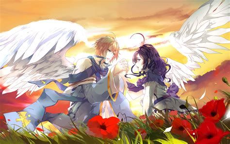 cute anime couples angels anime hq wallpapers and pictures