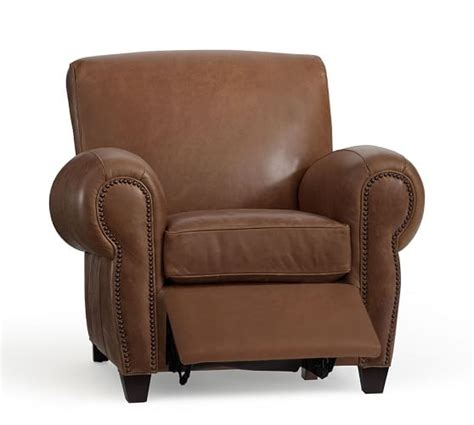 pottery barn leather recliner manhattan leather recliner with nailheads pottery barn