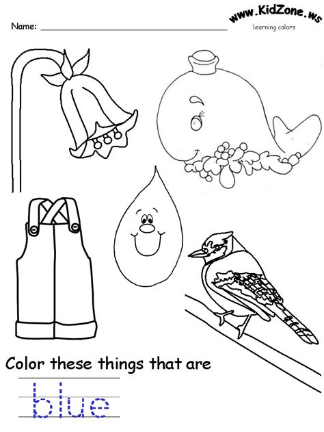 coloring page of blue colors recognition practice worksheet abc easy as 123