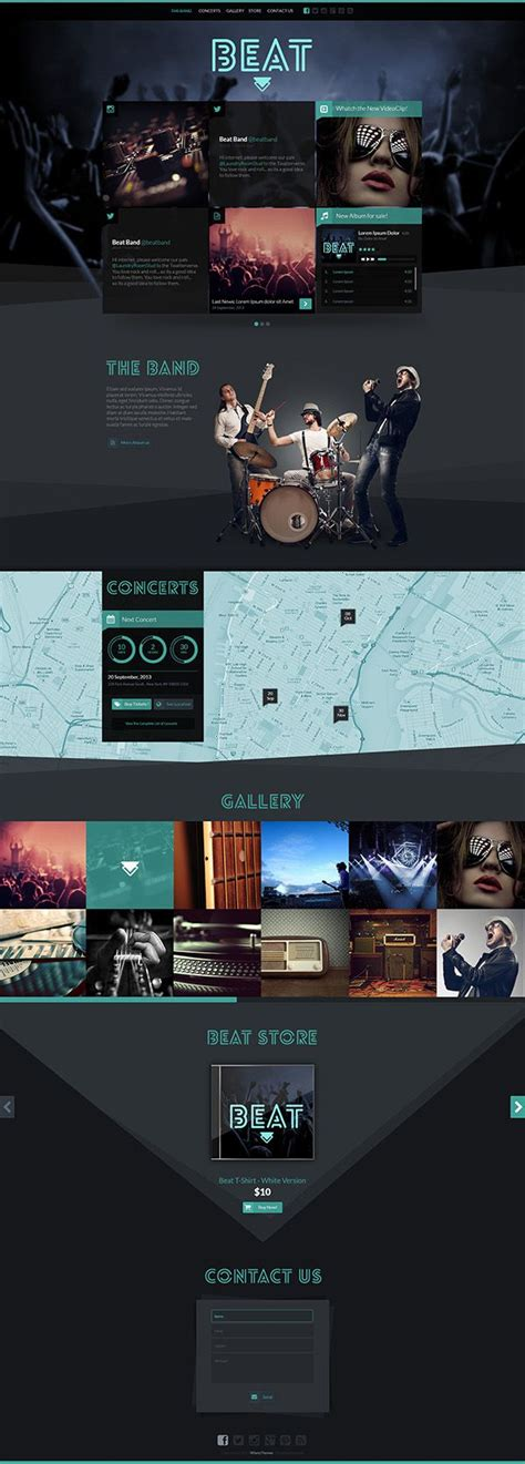 Beat One Page Html5 Music Band Template On Web Design Pinterest Website Design Layout Metal Band Website Template