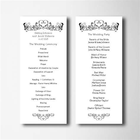 simple wedding program template wedding program template simple wedding program card