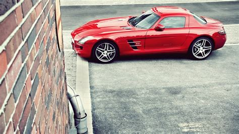 cars mercedes red mercedes benz sls amg red car parking
