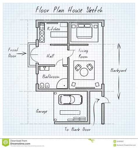 sketch floor plans floor plan house sketch stock vector image 52483697