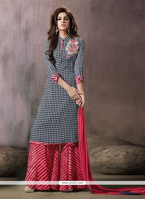 buy extraordinary georgette print work designer palazzo