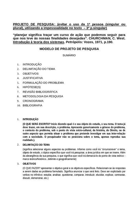 Modelo projeto pesquisa - PROJETO DE PESQUISA - Docsity