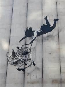Mural Wall Painting banksy woman falling with shopping cart tokidoki nomad