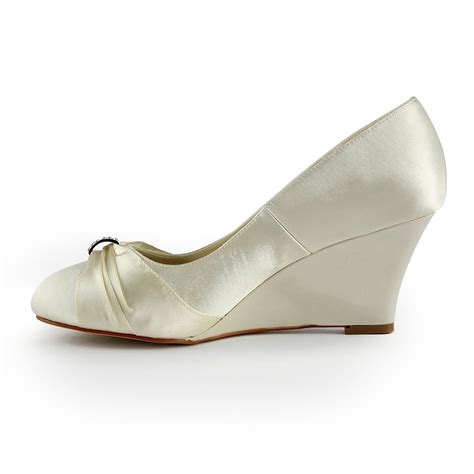Beige Wedges For Wedding by S Satin Wedge Heel Wedges With Rhinestone Wedding
