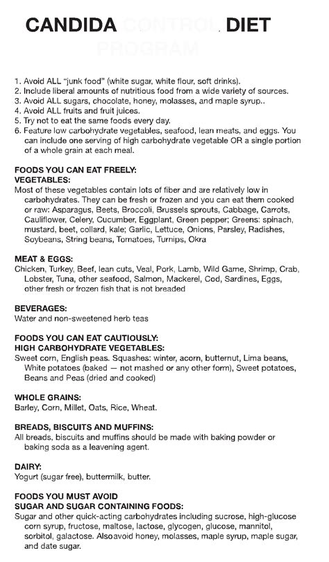Candida Detox Menu Plan by The Candida Diet Plan How To Gain Weight Meal Plan
