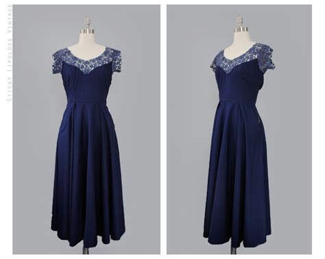 Blue Dress Blue Rsby 1496 1950 s vintage lace dress 50 s blue dress navy cotton sweetheart small dress 50