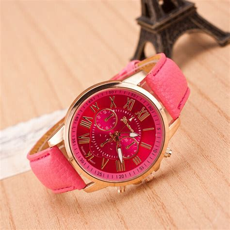 Newest Wrist Watches For Girls Watch Accessories   new design women lady girls faux leather band round analog