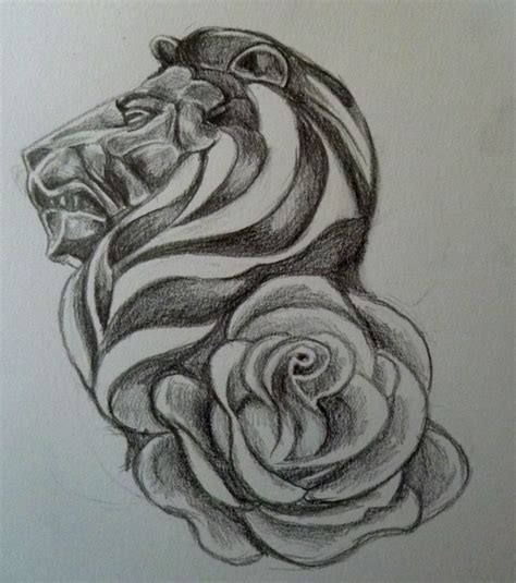 rose and lion tattoo and design by n b r artwork on deviantart