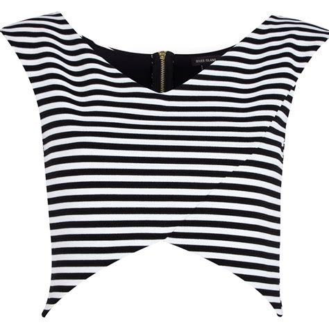 river island black and white stripe wrap crop top in black lyst