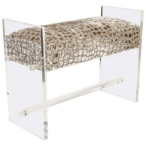 lucite x bench luxe lucite bench upholstered in crocodilian gauffraged