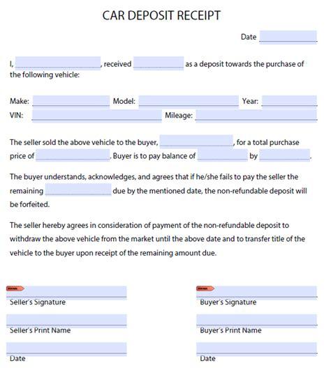 Deposit Receipt Template Uk by Car Deposit Receipt Cycle Receipt Template