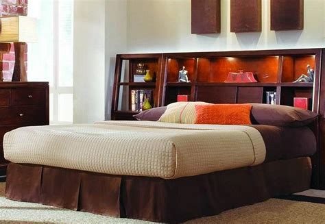 platform bed with shelf headboard finest full size of