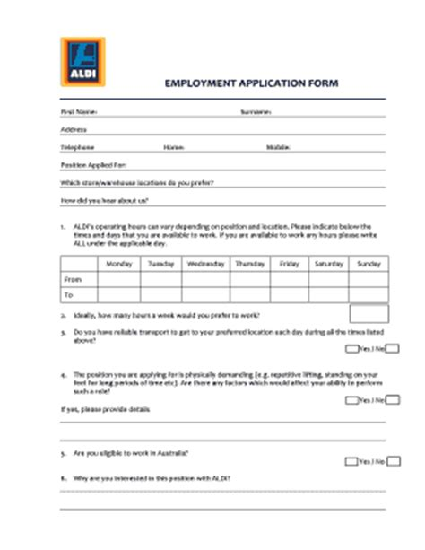 printable job application for aldis aldi application form related keywords suggestions