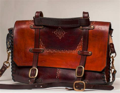 Handmade Leather Accessories - 1970 s customized leather briefcase handmade