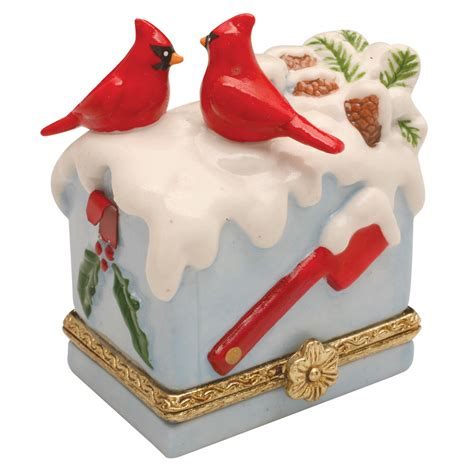 porcelain surprise christmas ornament box cardinals on