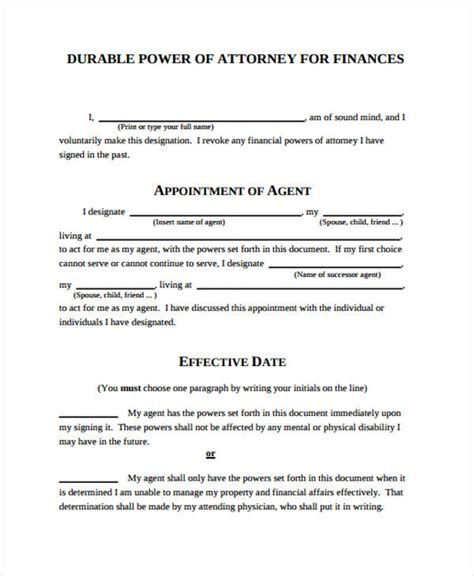 printable free power of attorney forms power of attorney form template