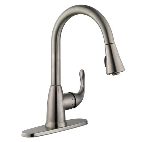 glacier bay market single handle pull down sprayer kitchen faucet in stainless steel 67551