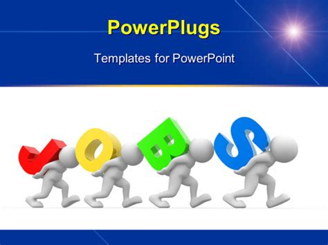 powerpoint templates job human character person and the word jobs 3d render