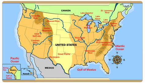 us physical features map printable interactives united states history map from sea to