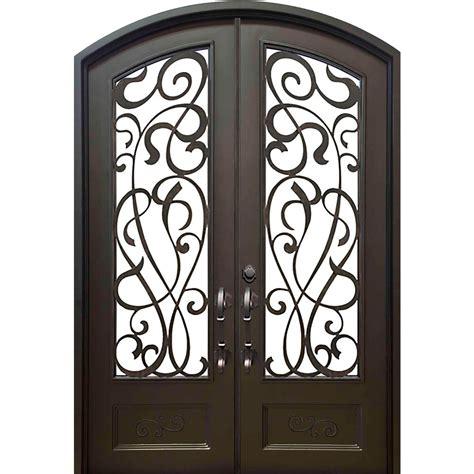 Wrought Iron Exterior Door Iron Doors Windows 62 In X 97 5 In Eyebrow St Bronze 3 4 Lite Painted