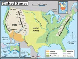 physical features of the united states map geography physical map of the united states of america