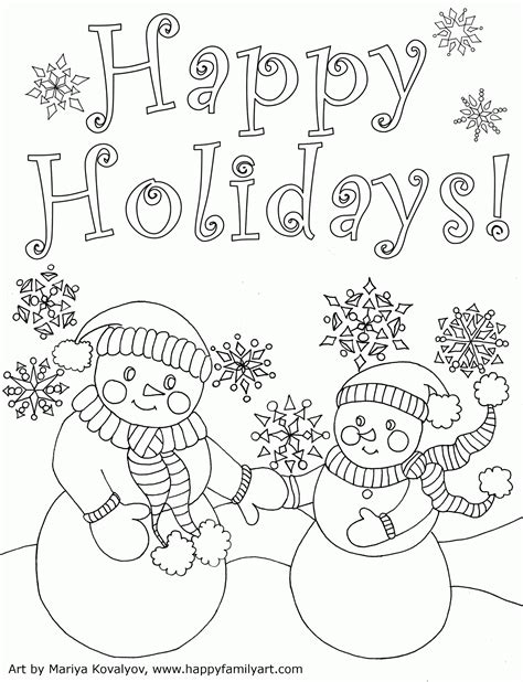 Coloring Pages Holidays Print | happy holidays coloring pages printable coloring home