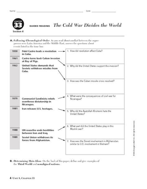 Cold War Worksheets by Worksheets Cuban Missile Crisis Worksheet Opossumsoft
