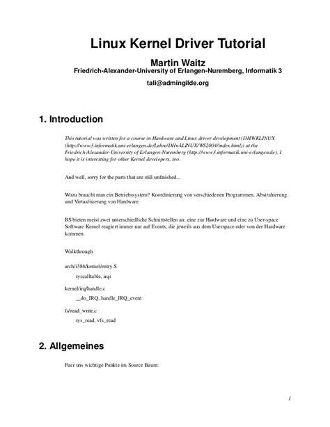 tutorial write linux driver linux kernel driver tutorial vorlesung