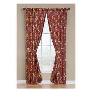 Waverly Curtains Drapes Shop Waverly Felicite 84 In Crimson Cotton Back Tab Single Curtain Panel At Lowes