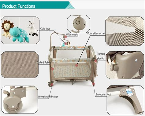 On Me 2 In 1 Portable Folding Crib by Folding Portable Baby Cot Play Pen Colorful Baby Play Yard