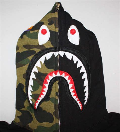 Bape Shark Fullzip Hoodie half camo zip bape shark hoodie dopestudent