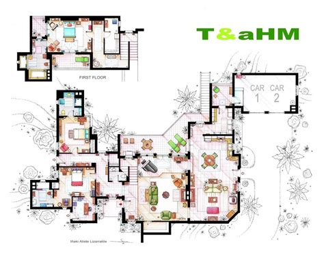 Two And A Half Men House Floor Plan | two and a half men floor plans interior design ideas