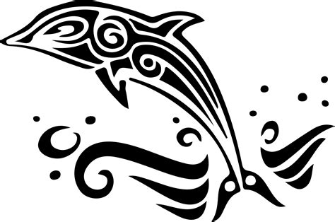 dolphin clip art black and white