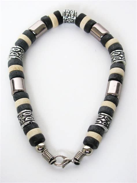 mens beaded jewelry tri tone black surfer beaded bracelet s jewelry