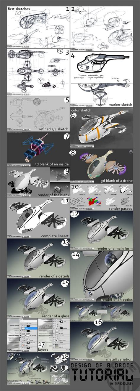 design concept tutorial design of a drone concept tutorial by turbosolovey on