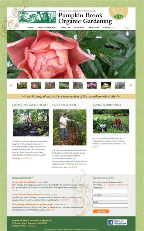 pumpkin brook organic gardening website wendy clark design