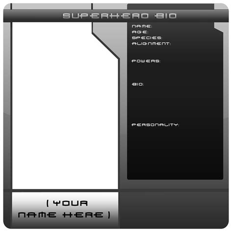blank superhero bio template by kingdvo on deviantart