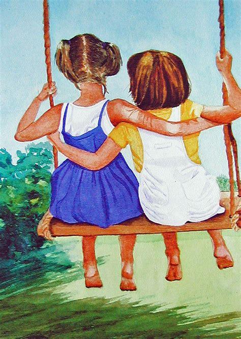 swing kings friends best friends painting by anna lohse