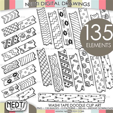 free doodle overlays washi clipart clip printable