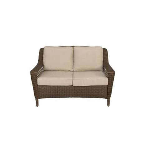 hton bay wicker loveseat hton bay spring haven brown all weather wicker patio