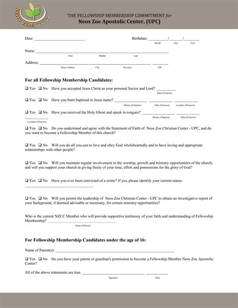 Church Membership Application Form Template my